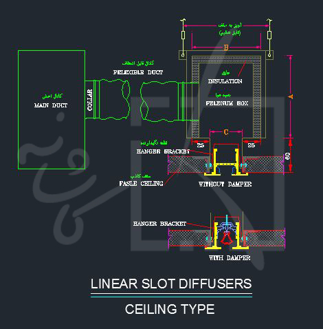 جزییات اجرایی دریچه های خطی سقفی